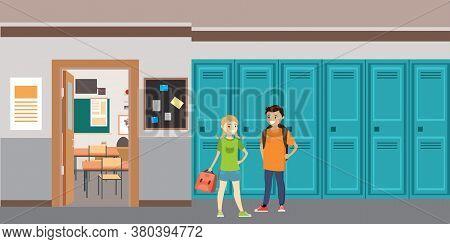 Cartoon School Interior, Caucasian Schoolboy And Schoolgirl With