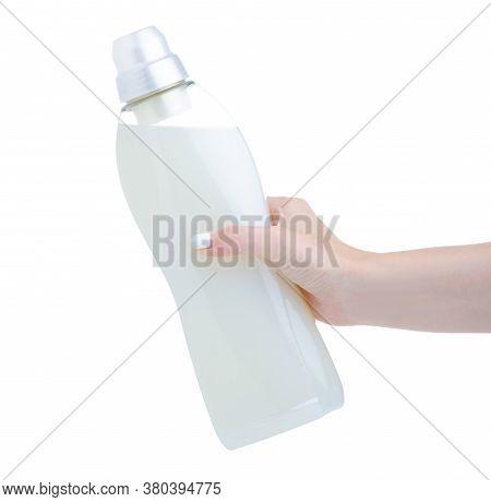 White Plastic Bottle Gel Liquid Conditioner Softener In Hand On White Background Isolation