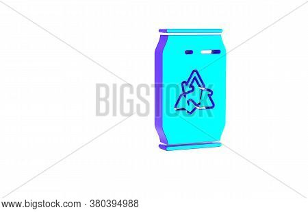 Turquoise Can With Recycle Symbol And Can Icon Isolated On White Background. Trash Can Icon. Garbage