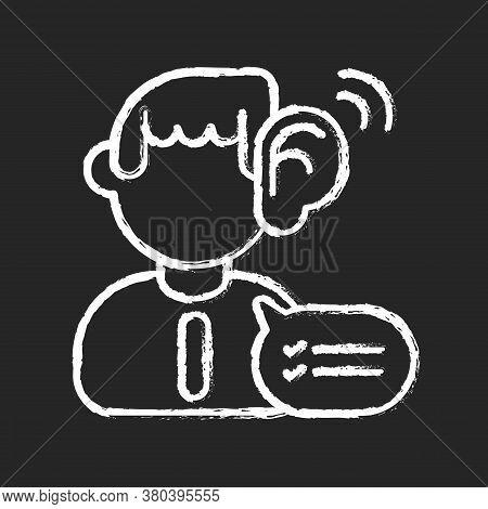 Listening Skills Chalk White Icon On Black Background. Communication Abilities, Consultation Service