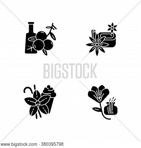 Black Glyph Icons Set On White Space. Aromatic Flavoring. Food Seasoning. Cooking Condiment. Juniper