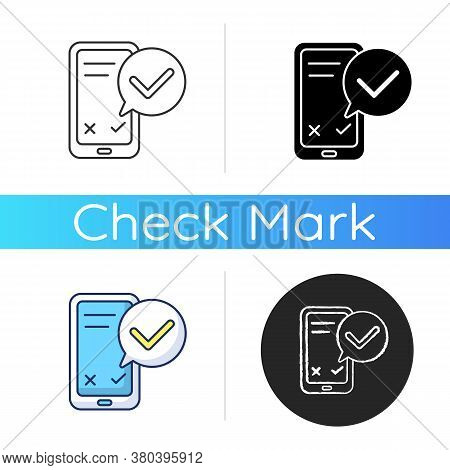 Smartphone Service Check Icon. Update Mobile Phone. Checkmark For Right Answer On Online Survey Poll