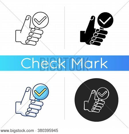 Complete Research Icon. Thumbs Up With Magnifying Glass. Vote For Right Answer. Accept And Evaluate.