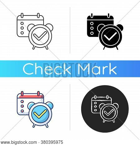 Reminder Check Icon. Organizer Checkmark. Meeting Date In Calendar. Schedule Planning. Tick With Mar