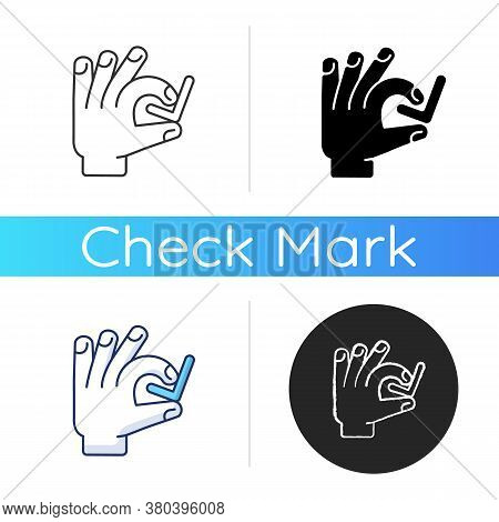Hand With Checkmark Icon. Select Option. Quality Rating. Customer Approval. Right Answer. Confirmati
