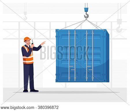 Dock Worker Semi Flat Vector Illustration. Loading Freight Container. Cargo Shipping Service. Port M