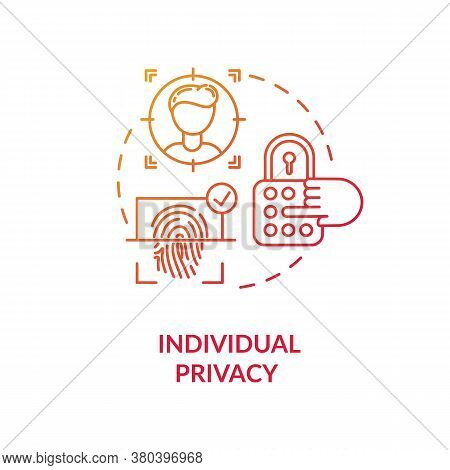 Individual Privacy Concept Icon. Personal Information Protection Idea Thin Line Illustration. Face R