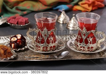Pomegranate Tea And Turkish Delight On Metal Tray On Dark Background, Closeup, Horizontal Format
