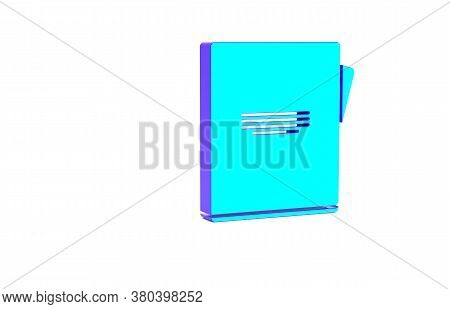 Turquoise Notebook Icon Isolated On White Background. Spiral Notepad Icon. School Notebook. Writing