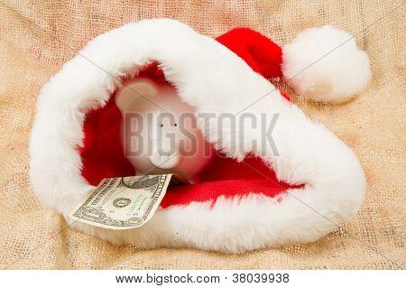 Piggybank Guarding Santa's Crisis Budget