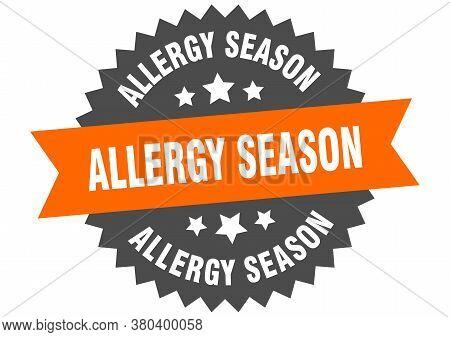 Allergy Season Round Isolated Ribbon Label. Allergy Season Sign