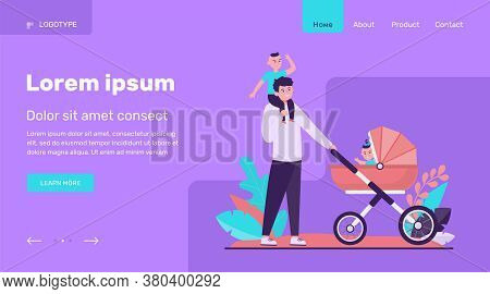 Happy Father Walking With Children. Baby, Carriage, Park Flat Vector Illustration. Family And Father