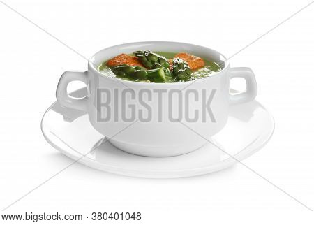 Delicious Asparagus Soup With Rusks Isolated On White