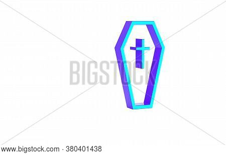 Turquoise Coffin With Christian Cross Icon Isolated On White Background. Happy Halloween Party. Mini