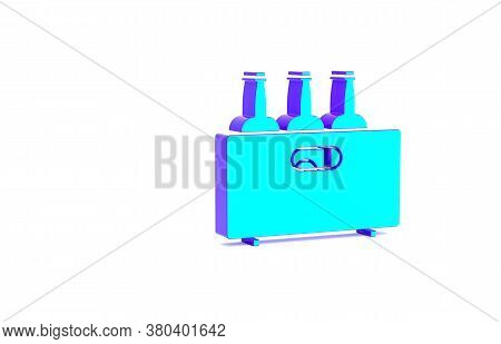 Turquoise Bottles Of Wine In A Wooden Box Icon Isolated On White Background. Wine Bottles In A Woode