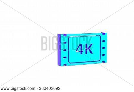 Turquoise 4k Movie, Tape, Frame Icon Isolated On White Background. Minimalism Concept. 3d Illustrati