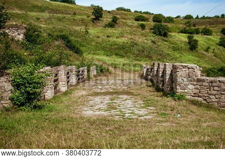 Bridge Of Khotyn Fortess, Castle In Ukraine. One Of Seven Wonders Of Ukraine.