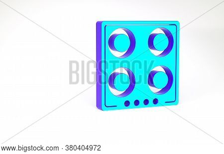 Turquoise Gas Stove Icon Isolated On White Background. Cooktop Sign. Hob With Four Circle Burners. M