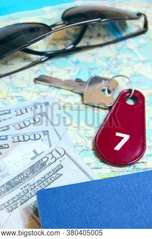 Money Passport And Key. Travel Concept. Things Collected For Travel. Personal Items For Holidays. Mo