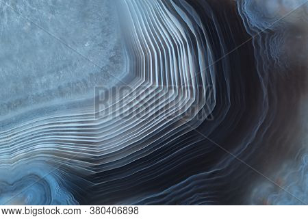 Full-screen Texture Of Blue And White Striped Agate With Quartz