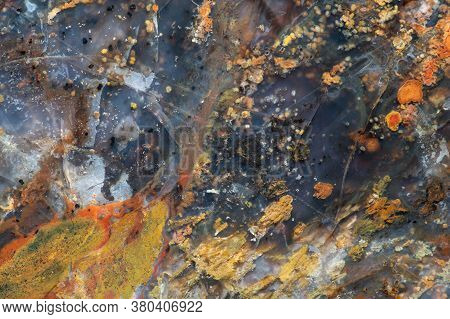 Full-screen Texture Of Fractured Variegated Red-yellow Jasper With Translucent Chalcedony And Variou