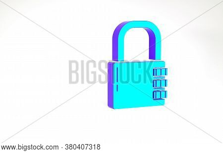 Turquoise Safe Combination Lock Icon Isolated On White Background. Combination Padlock. Security, Sa