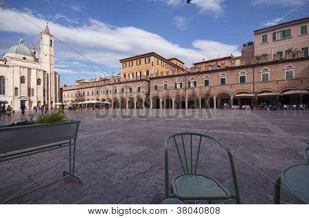 Piazza del Popolo from the bar, Ascoli Piceno