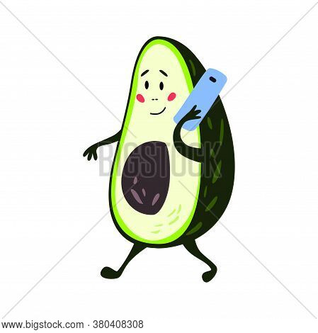 Funny Avocado Character. Greeting Card With Sweet Avocado. Vector Illustration Isolated On White Bac