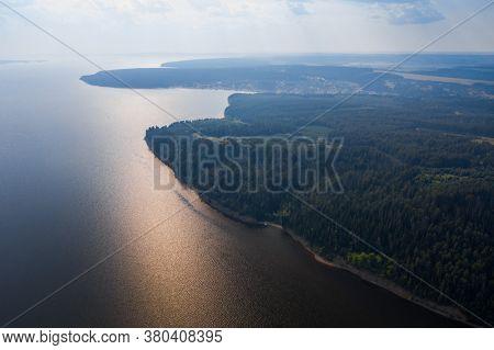 Aerial panorama of the river of Kama, Russia