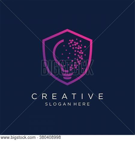 Creative Shield With Light Bulb Pixel Logo Design Vector Template Stock Illustration