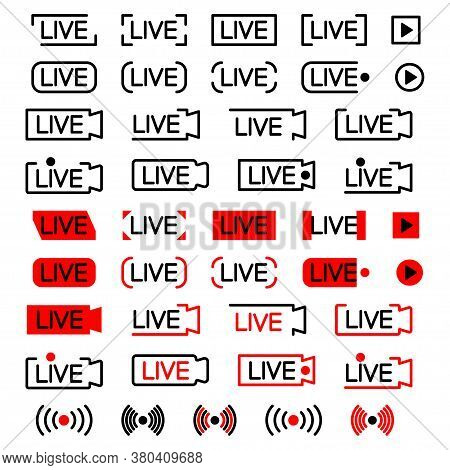 Live Broadcating Icon. Set Of Live Streaming Icons. Black And Red Symbols For Streaming, Record, Onl