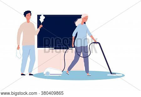 Home Cleaning. Couple Doing Housework. Woman And Man Clean House Together Vector Illustration. House