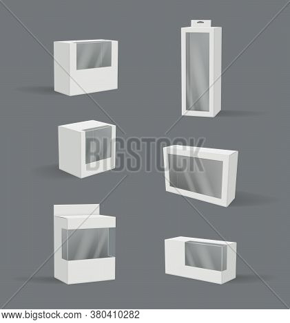 Realistic Gift Box. Transparent Plastic Packages Modern Product Container Vector 3d Illustration Emp