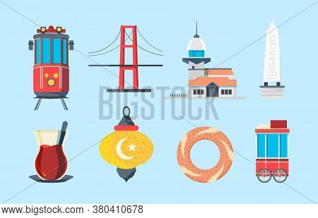 Istanbul Landmarks. Muslim Buildings Skylines Traditional Buildings Turkey Bridge Vector Signs In Fl