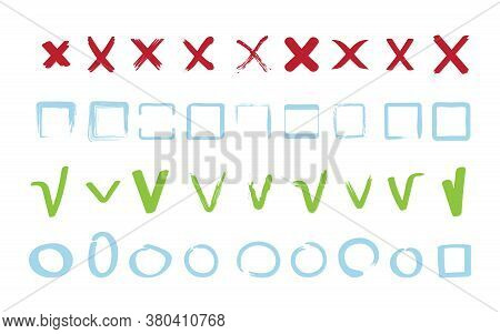 Check Marks Collection. Approve False Reject Signs Geometrical Square And Circle Shapes Vector Symbo