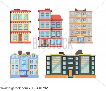 Living Buildings Flat Style. Urban Houses With 3 Or 9 Floor Home Apartments Nice Modern Urban Exteri