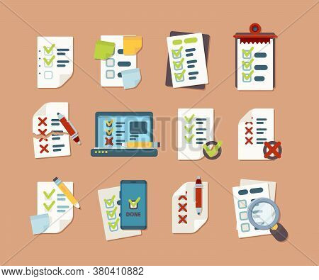 Checklist Collection. Business Text Lists With Clip Marks Icons Schedule Vector Pictures In Flat Sty