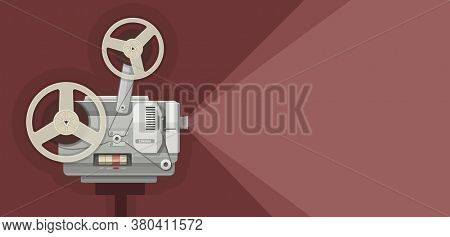 Retro movie projector for films showing. Illustration.