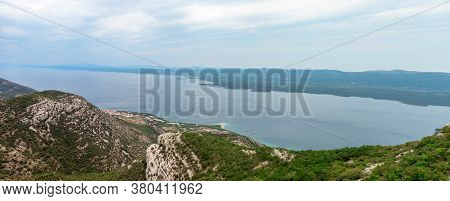 View From The Top Of The Vidova Gora Mountain, Highest Point Of The Island Of Brac. Mountains And Th