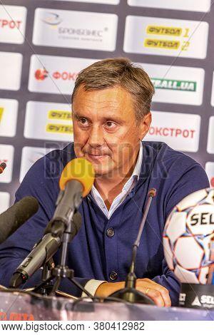 Odessa, Ukraine - July 15, 2017: Press Conference Of The Head Coach Of Fc Dynamo Kiev Alexander Khat