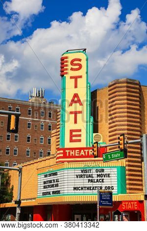 ANN ARBOR, MI - AUGUST 09,2020: Historic State Theatre is an operational former movie palace in Ann Arbor, Michigan, designed by C. Howard Crane in the Art Deco style.