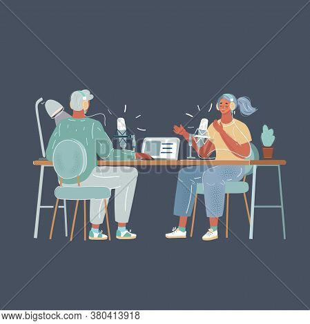 Vector Illustration Of Young Man Interviewing A Woman In A Radio Studio. Podcast And Broadcast Blogg