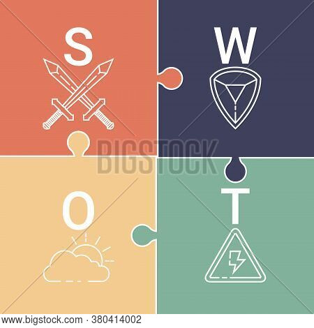Swot Analysis ( Strengths, Weaknesses, Opportunities And Threats ) Concept. Design By Swords, Shield