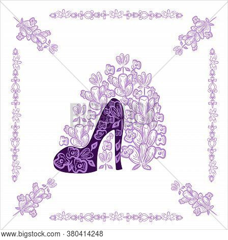 Background With One High-heeled Shoe And Lavender. The Color Is Purple, Pink And Black. Banner. Used