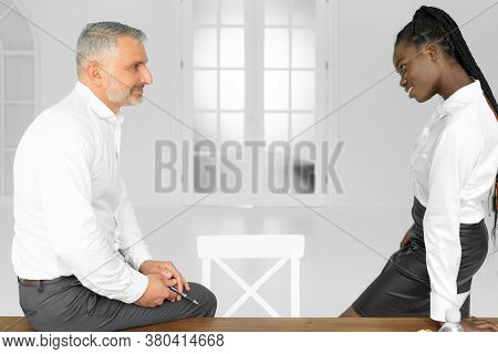 Flirting With Boss. Man And Woman Business Colleagues. Office Flirt. Career Company. Office Couple