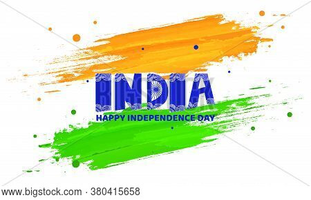 Creative Traditional Floral Calligraphy Of India, Happy Independence Day. India Tricolor Flag.