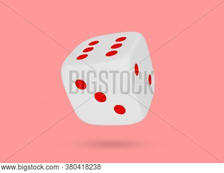 White Cube For The Game. Dice Close-up On A Colored Background. Minimal Style. Casino Gambling, Spor