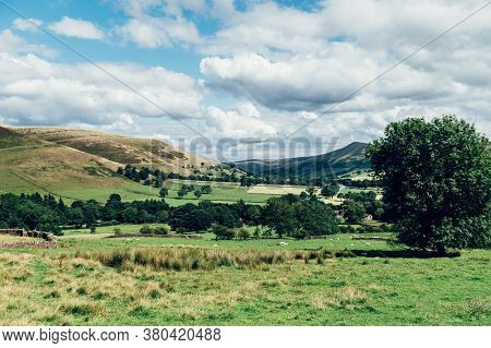 Beautiful Field View On Edale Village And Mam Tor At Peak District National Park, England, Uk. Stayc