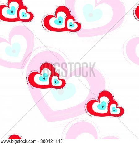Seamless Pattern With Red Hearts With Evil Eye - Valentines Day Theme