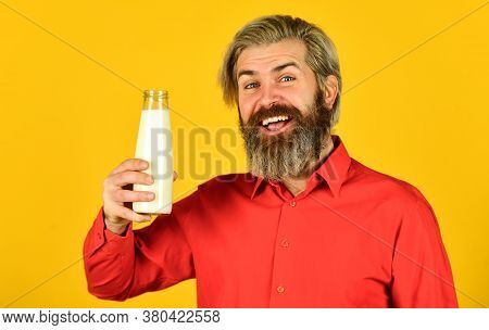 Lactose Intolerance. Bearded Man Hold Milk Bottle. Pasteurized Milk. Vegan Milk Concept. Drink Prote